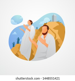 Hajj Pilgrims Pray at Mount Arafat. Standing on Mount Arafat until the sunset on the 9th day of Dhul Hijjah. Vector illustration