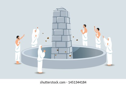 Hajj pilgrims stoning devil's pillars. It's call Jamaraat. One of Islam's sacred pilgrimage step. Suitable for info graphic.