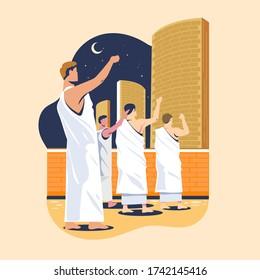 Hajj pilgrims stoning devil's pillars or commonly called Jamaraat stone throwing. Islam's sacred pilgrimage step