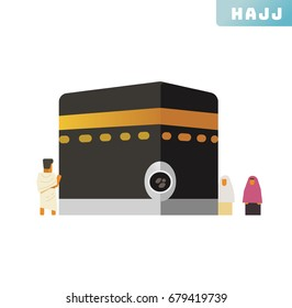 Hajj ritual icon collection set. Vector illustration