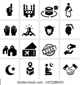 Hajj season icon set including Hajj Process and practice, muslim prayers, Arabic tradition and culture, Umra trip to Saudi Arabia