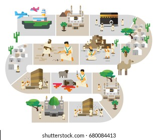Hajj series infographic. Vector Illustration