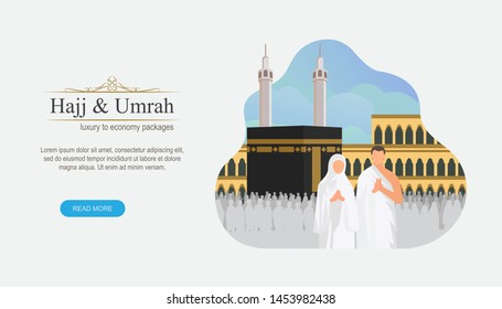 Hajj and umrah Illustration design for Landing page templates, Eid al adha mubarak with people character concept. Can use for book Illustration, Banners, Card Invitation, Poster and Social media