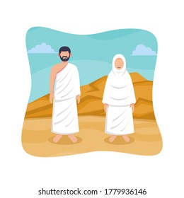 Hajj and umrah islamic pilgrimage ritual guide design. Flat style vector illustration of muslim characters wearing ihram clothes for praying.