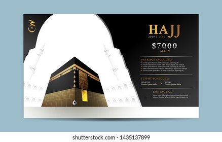 Hajj or Umrah template, banner, flyer, brochure, background vector illustration. Split layer of text and background