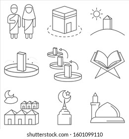 hajj/umrah icon set. outline vector illustration. content such as ihram, kaabah, jumrah, tend, madinah and more.