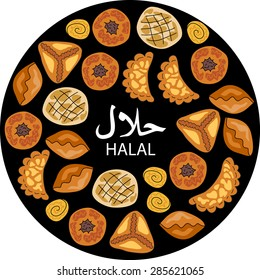 Halal food. Asian pastries. Islamic bakery background. Middle Eastern Cuisine.