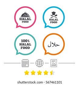 Halal food icons. 100% natural meal symbols. Chef hat with spoon and fork sign. Natural muslims food. Calendar, internet globe and report linear icons. Star vote ranking. Vector