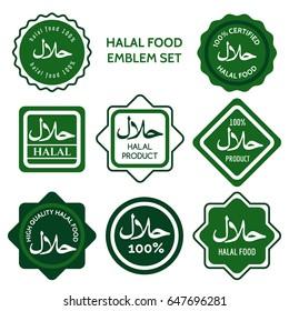 Halal food labels vector illustration. Green colors halal food logo set