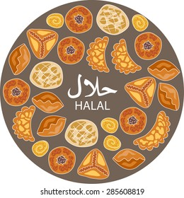 Halal food. Middle eastern pastries. Islamic bakery background.