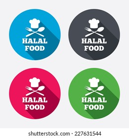 Halal food product sign icon. Chef hat with spoon and fork. Natural muslims food symbol. Circle buttons with long shadow. 4 icons set. Vector