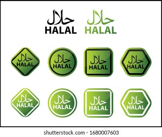 Halal icons collection vector isolated