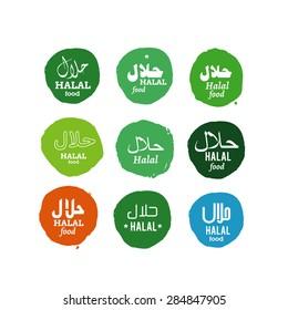 "Halal islamic food with text in english and arabic ""halal"" illustration set"