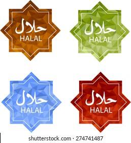 Halal label set. Halal food.