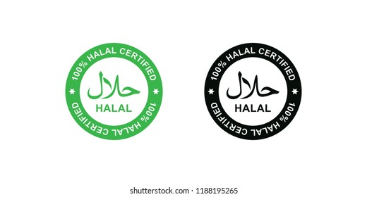 Halal logo. Round stamp for halal food, drink and product. Vector illustration in black and white style.
