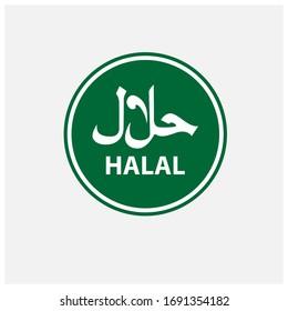 Halal logo. Round stamp and vector logo. Halal sign design, Halal Badge