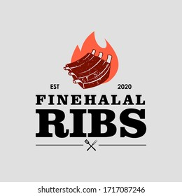 halal ribs barbecue logo vector graphic label design or roasted food and beverage poster template idea