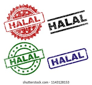 HALAL seal prints with damaged surface. Black, green,red,blue vector rubber prints of HALAL title with unclean surface. Rubber seals with circle, rectangle, medallion shapes.