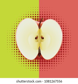 Half of an apple on two colored background.