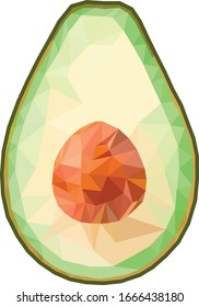 Half avocado polygon mesh illustration