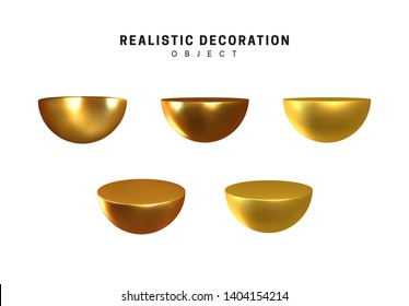 Half ball in gold metalic. Semi round sphere geometric shapes. Golden decorative design elements isolated white background. 3d objects shaped yellow semicircular. Realistic vector illustration.