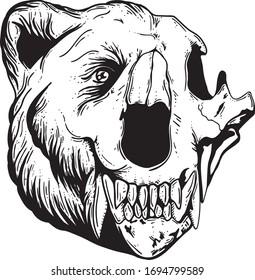 Half bear half skull with teeth