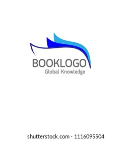 Half blue book logo on white background : Education concept vector.