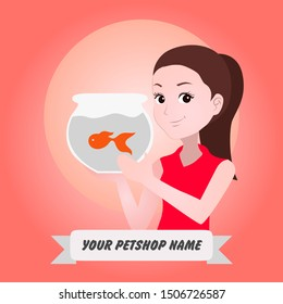 half body mascot woman with cartoon style for logo or media promotion. A chef woman brings a jar filled with fish