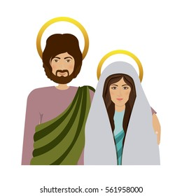 half body picture colorful virgin mary and saint joseph