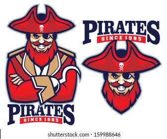 half body pirate mascot