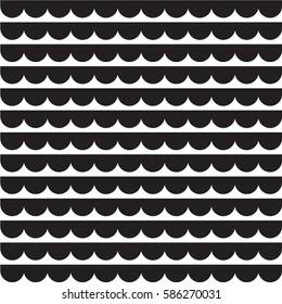 Half circles pattern vector, wave pattern simple seamless