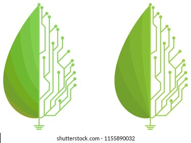 Half circuit board design with half leaf logos. These logos can be used for companies such as eco friendly electronic device manufacturers.