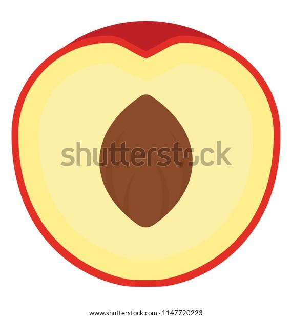 A half cut peach with prune in it
