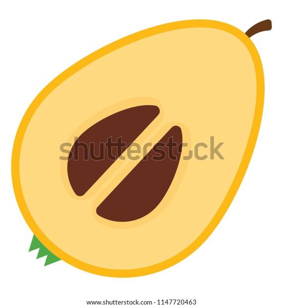 A half cut piece of fruit with seeds, sapodilla