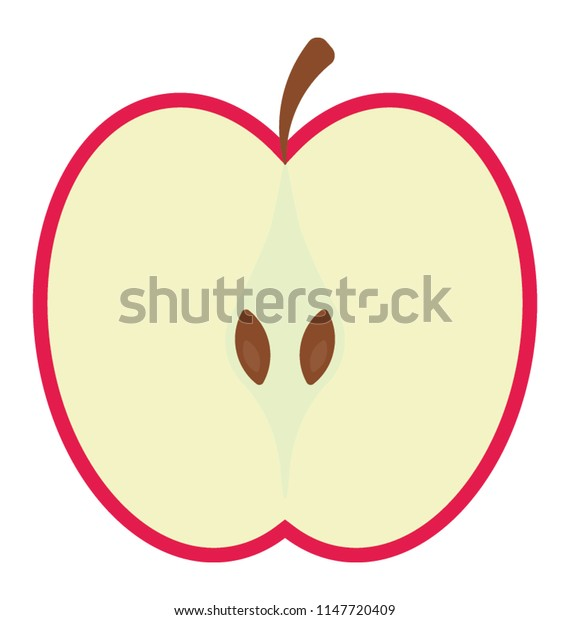 Half cut piece with a stem and seeds, apple