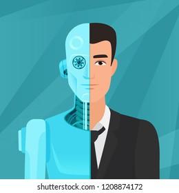 Half cyborg, half human man businessman in suit vector illustration.