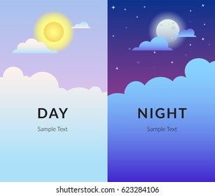 Half day and night, sun and moon with clouds. Gradient desigh vector illustration of sky and weather broadcasting, cloud and life, period and cycle for banners of mobile app backgrounds