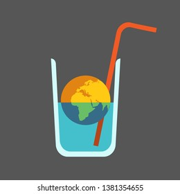 Half Dead Planet Earth in Half Empty Glass of Water with Straw. Global Issue: Drying out the Planet.