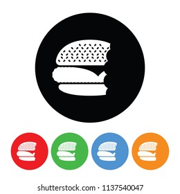 Half eaten cheeseburger icon in a vector circle burger or hamburger with bite taken out sign or symbol with four color variations