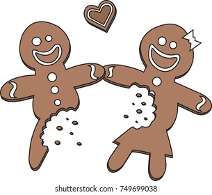 Half Eaten Gingerbread Man and Woman in Love. Vector Illustration. Transparent Background.