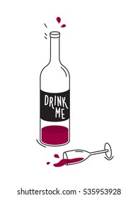 Half empty bottle of red wine and knocked over wineglass. Concept of drinking alcohol, depression and loneliness