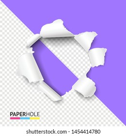 Half empty realistic torn violet paper hole on half transparent background for sale poster. Vector bright rip edge banner concept with tearing paper pieces isolated for scrapbooking or advert