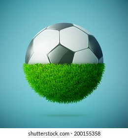 Half of green grass sphere with soccer ball concept eps10 vector illustration