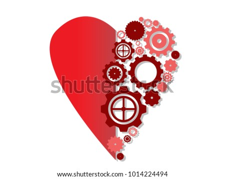 Half Heart Icon Symbol Love Vector Valentines Daygears Stock Vector