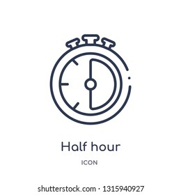 half hour icon from technology outline collection. Thin line half hour icon isolated on white background.