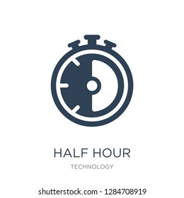 half hour icon vector on white background, half hour trendy filled icons from Technology collection, half hour vector illustration