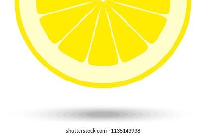 Half of lemon slice for coktails decoration. Vector Illustration