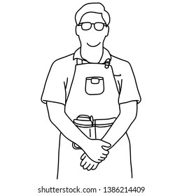 half length of male waiter standing vector illustration sketch doodle hand drawn with black lines isolated on white background