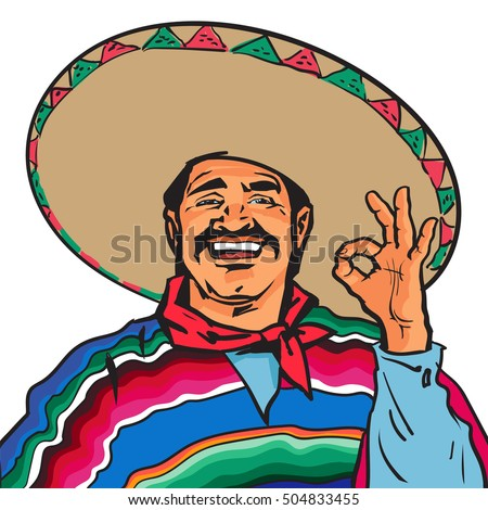 half length portrait smiling mexican man stock vector royalty free