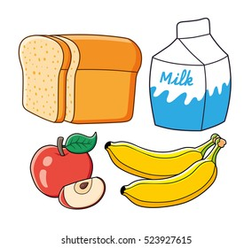 Half a loaf of bread, milk carton, red apple fruit with slice, two bananas. Healthy breakfast food set isolated.